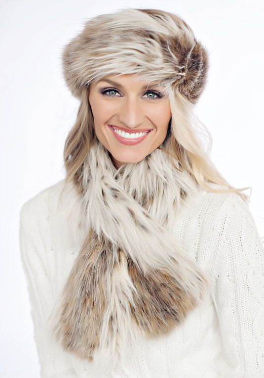 Russian Lynx Faux Fur Halo Headband fabulousfurs.com #fabulousfurs
