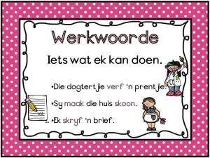 Afrikaans Woordsoorte Muurkaarte vir jou klas. Gratis; mag nie verkoop word nie.
