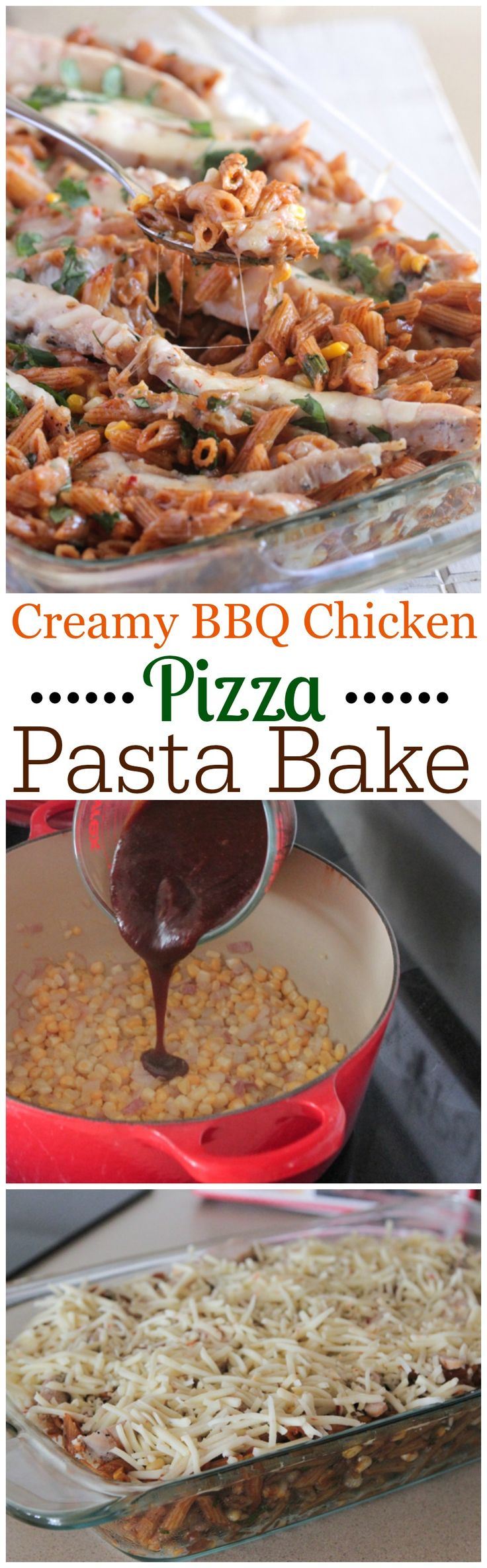 Creamy BBQ Chicken Pizza Pasta Bake!  Simple weeknight dinner the whole family enjoys....plus only takes 30 minutes from start to finish! #chicken #dinner #pasta #recipe
