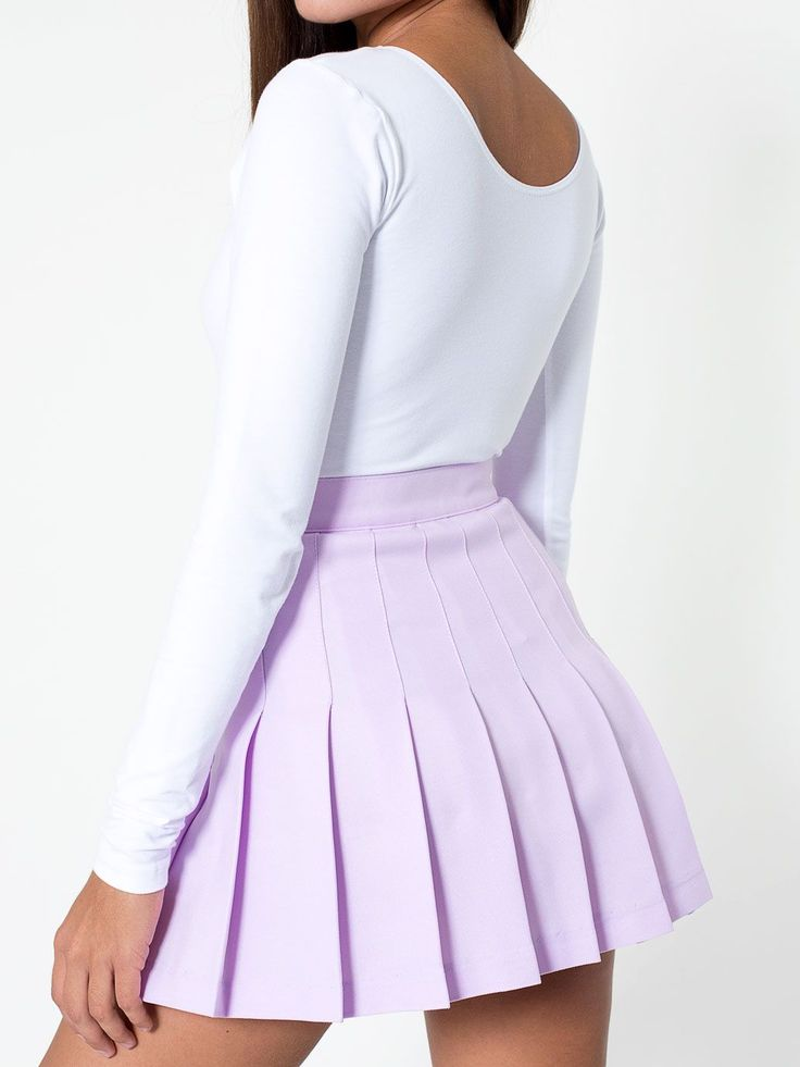 Tennis Skirt + Long Sleeve Crop Top. #AmericanApparel