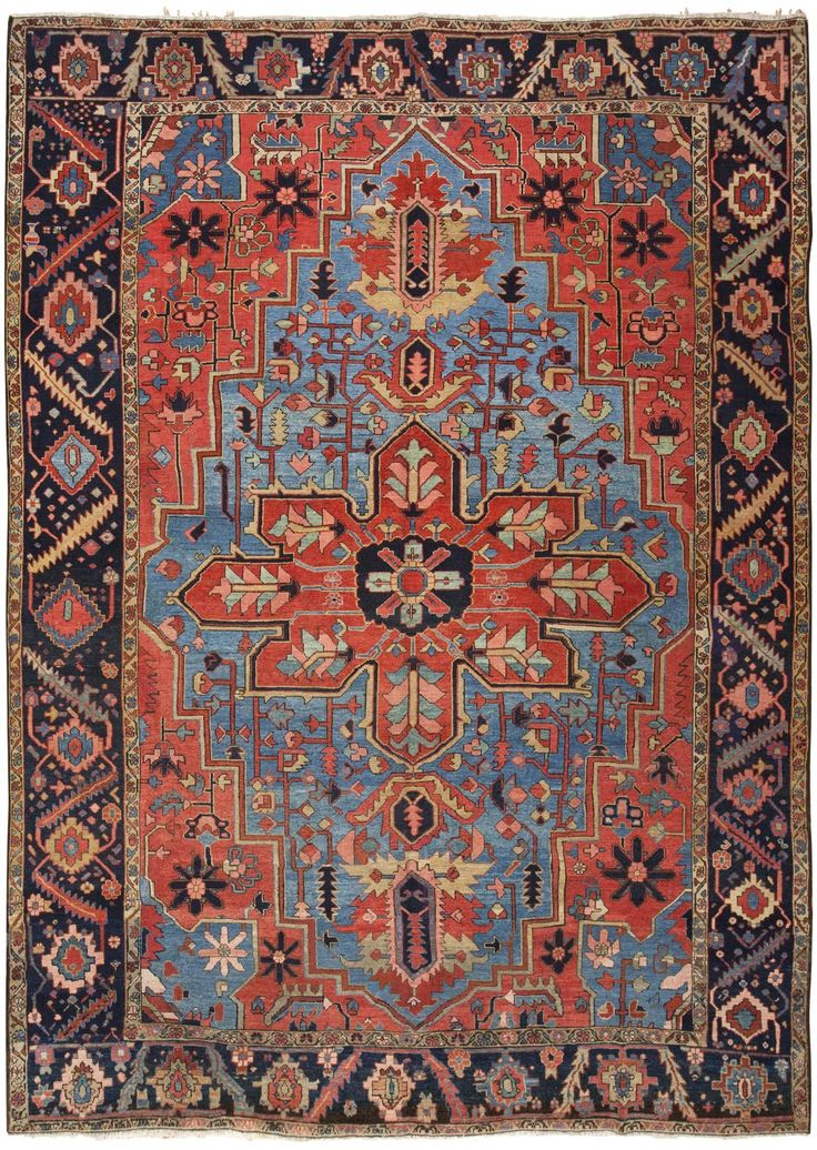 Furniture Heriz Serapi Rug Antique Persian Carpet By