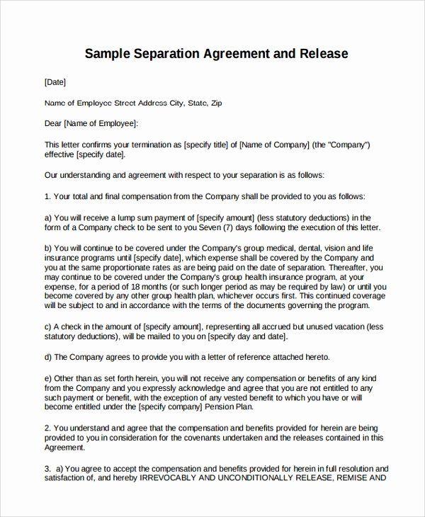 Employment Severance Agreement Template Awesome 9 Business Separation Agreement Templates Separation Agreement Template Separation Agreement Separation