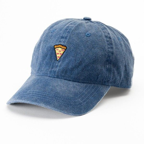 Women's SO® Denim Pizza Patch Baseball Cap ($13) ❤ liked on Polyvore featuring accessories, hats, blue, embroidered ball caps, blue baseball hat, blue ball cap, embroidered baseball hats and denim baseball hat