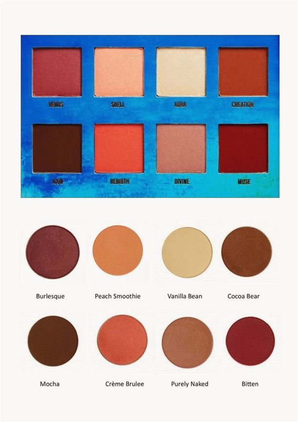 VENUS PALETTE DUPE! Makeup Geek Eyeshadow Pans: Burlesque, CINDERELLA, SHIMMA SHIMMA, cocoa bear, Mocha, MANGO TANGO, UNEXPECTED, and Bitten +8-pan palette (small or med. z-palette)