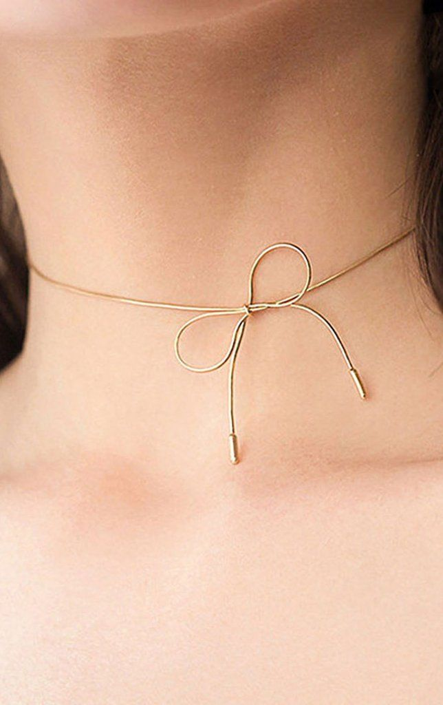 Kae Modern Minimal Bowknot Simple Choker Necklace In Silver Or Gold