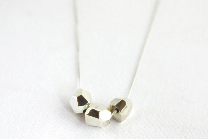 Trio Silver Geometric Bead Necklace  by Meraki Jewellery Design