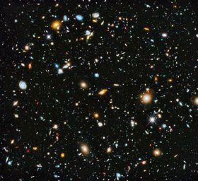 Hubble Ultra-Deep Field (HUDF) image (full range of ultraviolet to near-infrared light) includes some of the most distant galaxies to have been imaged by an optical telescope, existing shortly after the Big Bang (June 2014).