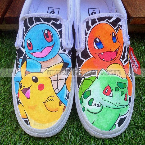 Pokemon Slip-on Painted Canvas Shoes,Slip-on Painted Canvas Shoes