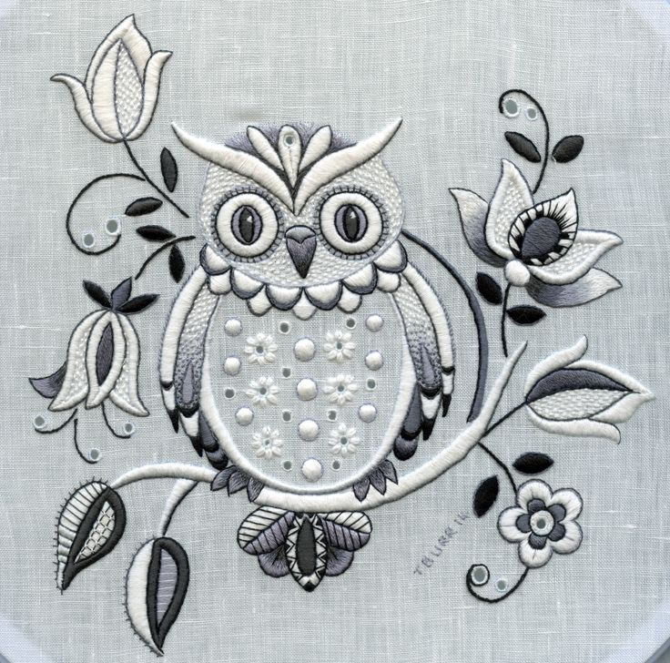 Moonlit owl stitched in whitework embroidery by Trish Burr
