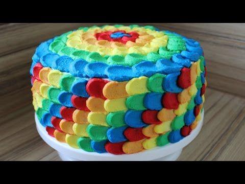 Regenbogen Torte aus Sahne selber machen Anleitung Deutsch Bunte Torte Kinder Geburtstagstorte - YouTube