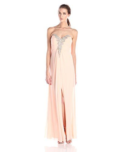 f0b5a00ad1 New Decode 1.8 Women s Apricot Strapless Beaded Long Dress online.   116.1   offerdressforyou