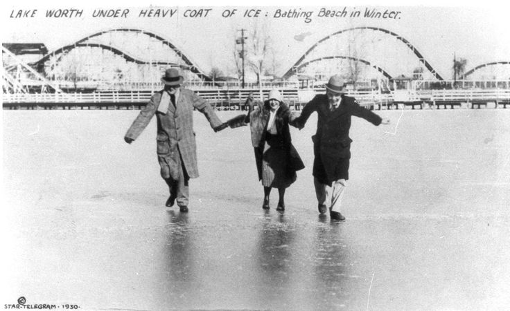 Lake Worth, Texas...Casino Beach frozen over in 1918
