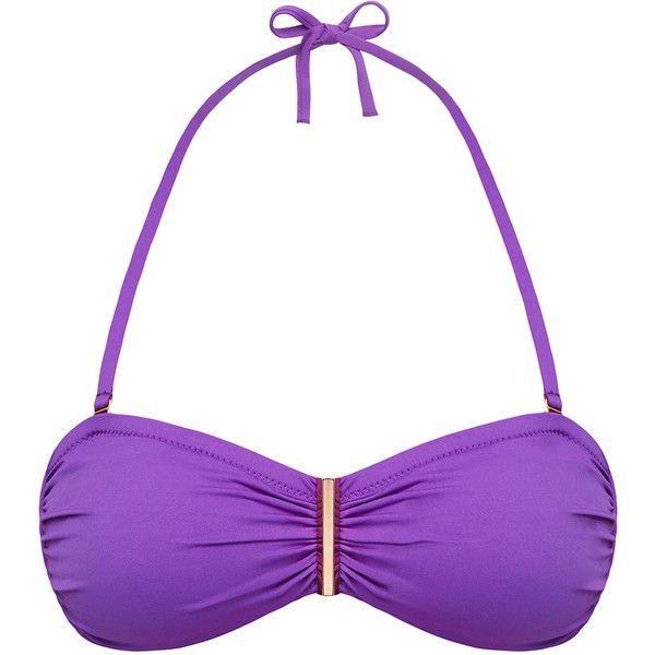 Lazul Luana Abarca Purple Bandeau Bikini Top (78 CAD) ❤ liked on Polyvore featuring swimwear, bikinis, bikini tops, purple, halter top, bandeau bikini, halter-neck tops, bandeau tops and halter-neck bikinis