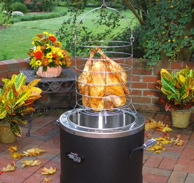 We bought one of these a year ago and absolutely love it!  We've taken it camping with us and cooked a couple of pork loins in it. Hook it to a propane tank, very little mess, great tasting food!