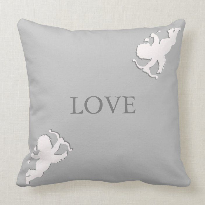 Elegant Cupids In White On Silver Grey Throw Pillow Zazzle Com Throw Pillows Grey Throw Pillows Grey Throw