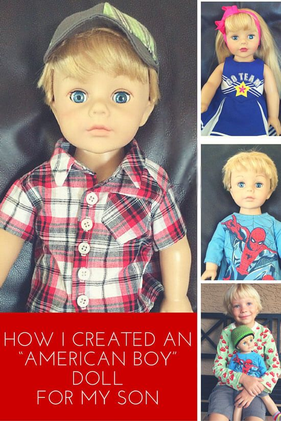 Her son wanted an American Boy Doll, so she made it happen. Check out this simple transformation. Perfect boy birthday or Christmas gift! Crafts,DIY & Decor in the Mom Cave,#Momcave