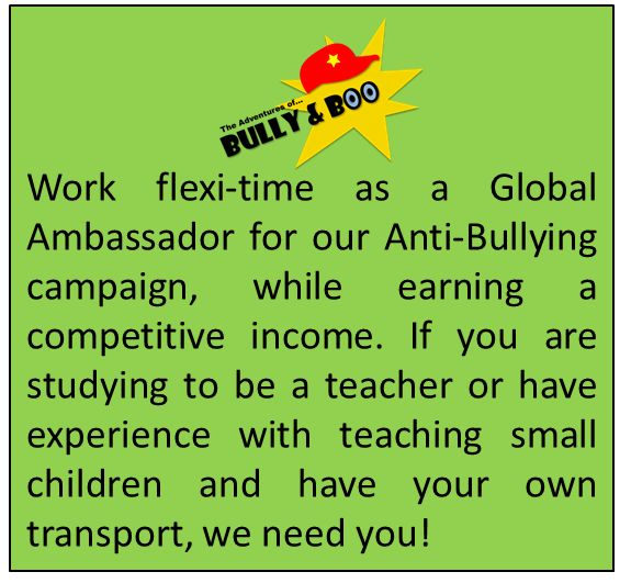 Anti-Bullying Campaign, Part-time Work, Flexi-Time Work, Gap Year Jobs, Teaching Jobs, Travelling Jobs,  Ambassadors for Boo to Bullies, Boo to Bullies, Bullying, Stop Bullying, Interactive Comics, Teach Empathy,