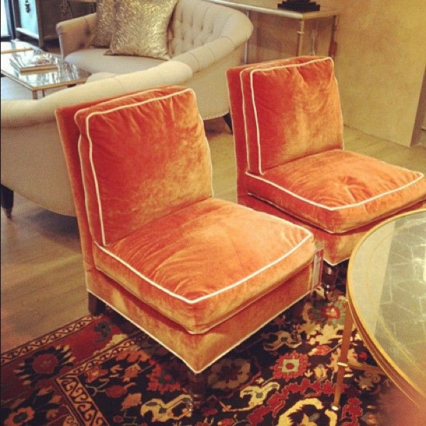Vintage Seeming Orange Velvet Slipper Chairs With White Piping    Inspiration For Making New Cushions For My Mid Century Armless Armchairs.