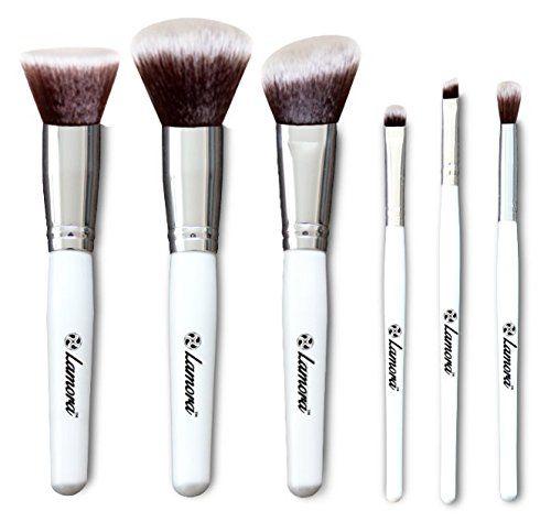 Make Up Pinselset - Kabuki Pinsel Puderpinsel Rougepinsel Lidschattenpinsel - 6 Teiliges Premium Pinsel Set in Weiß
