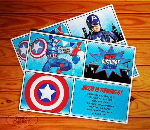 Captain America Birthday Invitation with or por VeyasCreations, $10.00