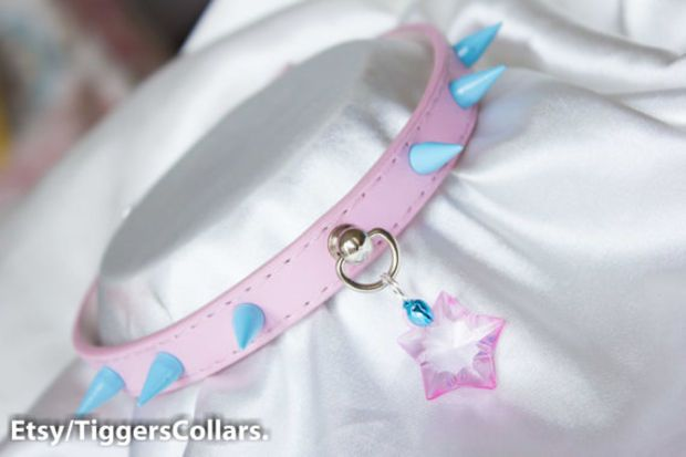 Pink with Blue Spike Submissive Collar with mini cat bell - Pink and blue - kawaii - pastel - fairy kei - crystal star