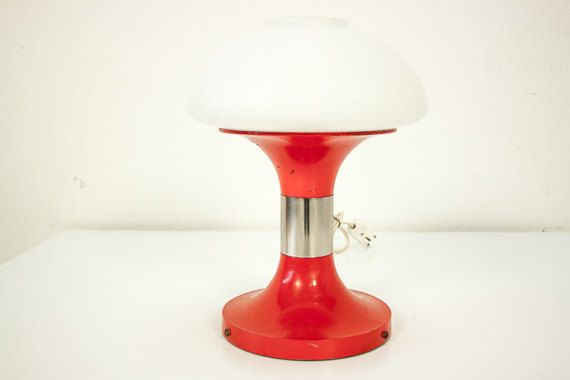 Vintage table lamp metal and glass, design retro