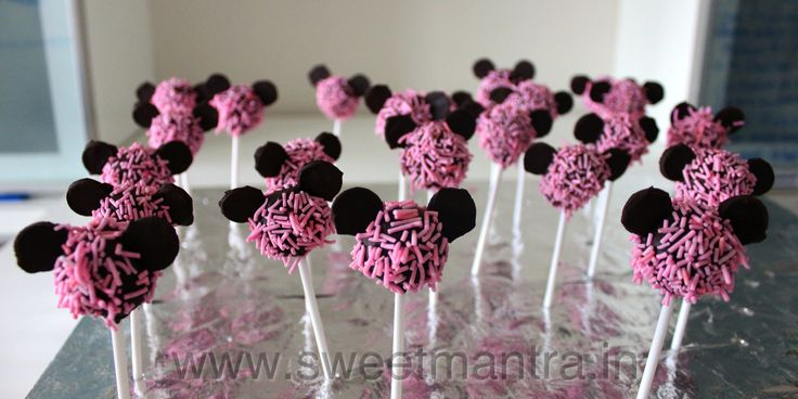 Homemade Eggless Minnie theme birthday Cake Pops - perfect mini dessert for a kids birthday party