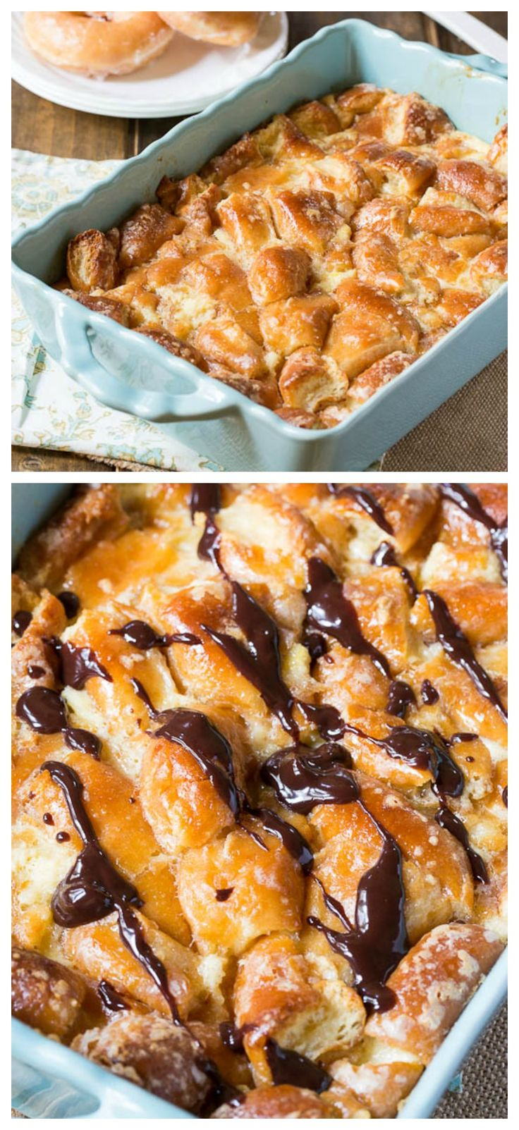 Turn stale glazed donuts into Krispy Kreme Bread Pudding with chocolate sauce.