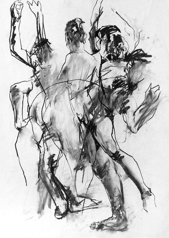 Clare Abstract. Original A1 Willow Charcoal by David Hewitt