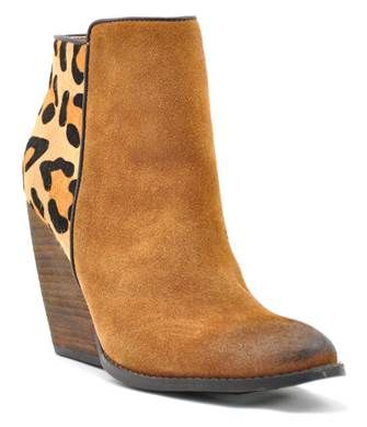 Want 10% off your entire order at www.gugonline.com Use GUGREPBRITT at checkout!!  Distressed Tan Leather and Leopard Hair On Hide Ankle Boot