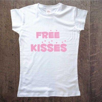 Koszulka dla dziewczyny Free kisses Idealny prezent na walentynki, urodziny, rocznicę DDshirt