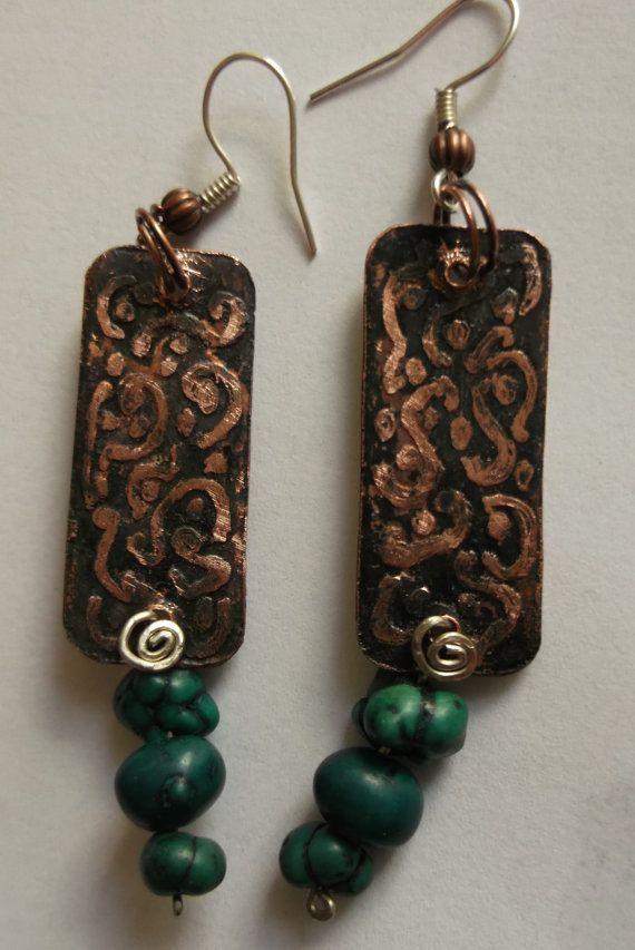 Bohemian Jewelrycopper earrings recycled by fripperyart on Etsy