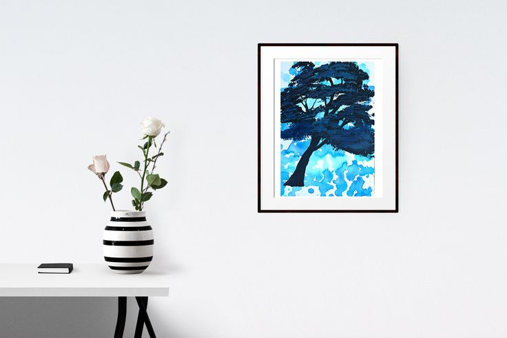 Original abstract landscape tree painting, wall art, A4 size, acrylic paint, black, blue, watercolour paper by Traceyleeartdesigns on Etsy