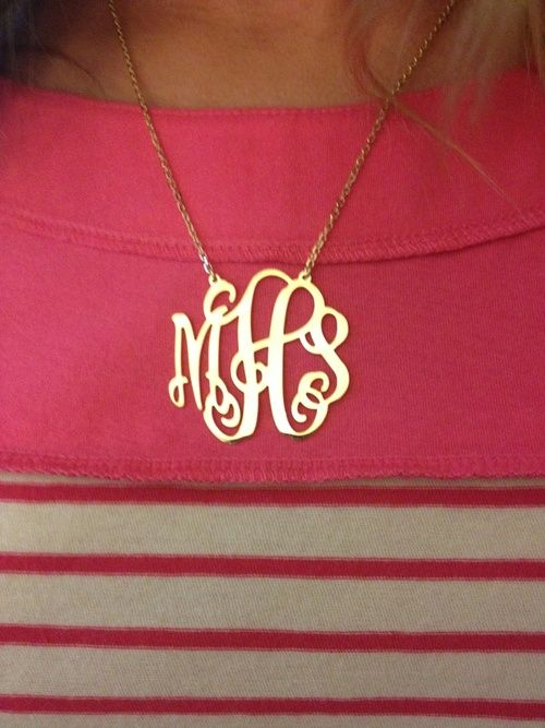 gold monogram necklace; they're HIGH in fashion now, from necklaces, to rings, to bracelets---not just for purses & cufflinks anymore...