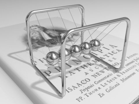 An animation showing Newton's cradle. As the ball is set in motion, it causes a…