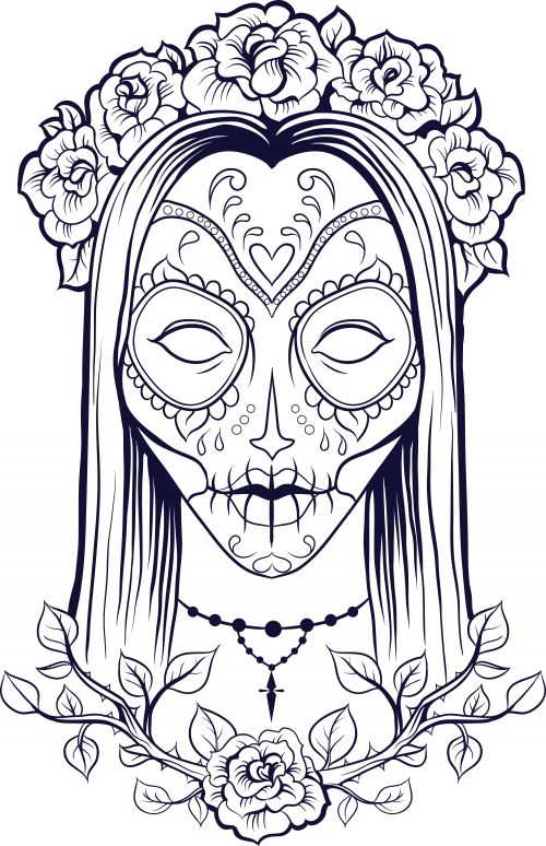 sugar skull coloring page 9 - Color In Pages