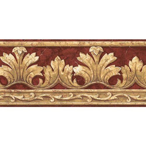 Crown Acanthus Leaf Red Wallpaper Border Victorian