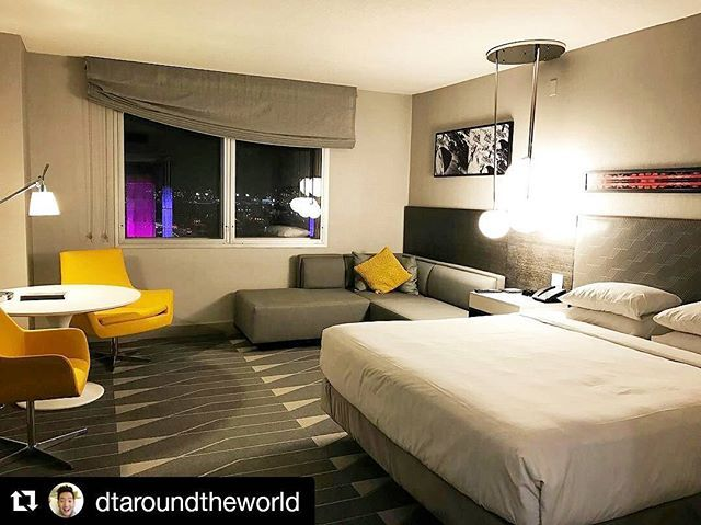 """Have you stayed in one of our new rooms yet? See what seasoned travelers like @dtaroundtheworld have experienced, with Hyatt Grand beds, 55"""" LED flat-screen TVs, quadruple-paned windows, rainfall showers and more. #AtHyattRegency, it's good not to be home. • • • [#Repost 📸 @dtaroundtheworld: It's amazing what a fresh coat of paint can do. Such an improvement over the old Concourse Hotel.]"""