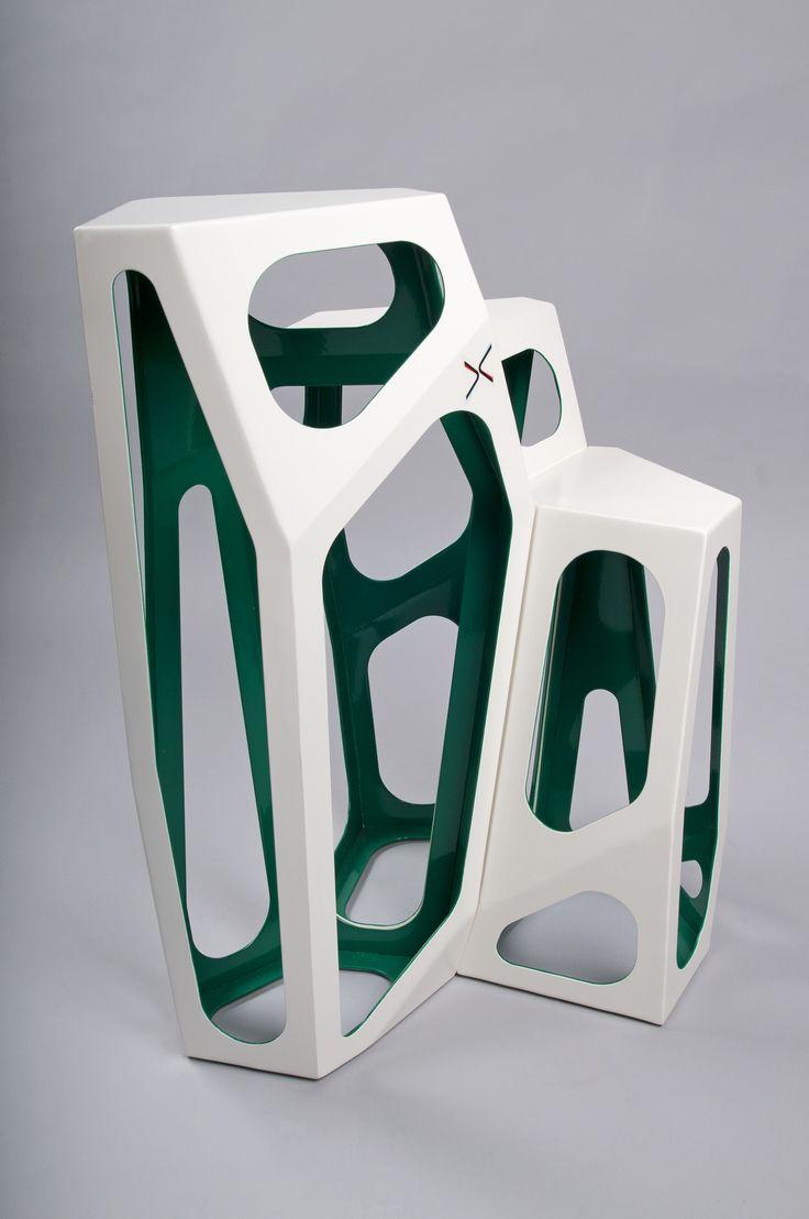 Simplexio Primo - coffee table 3 cells white & green