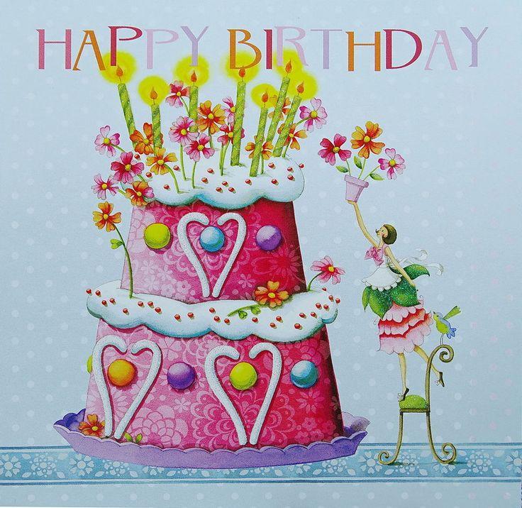 Nina Chen*Postkarte*14x14*Frau mit Torte*Happy Birthday*Kerzen*Glitzer*Grußkarte in Möbel & Wohnen, Feste & Besondere Anlässe, Karten & Schreibwaren | eBay!