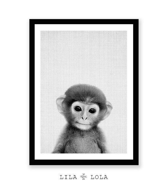 Baby dier kwekerij kunst Monkey Print Safari kwekerij door LILAxLOLA