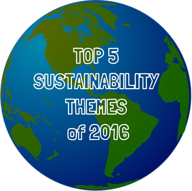 Top 5 Sustainability Themes of 2016 http://www.whiletheyreonmars.com/2016/12/top-5-sustainability-themes-of-2016.html include Big Data, Circular Economy, Climate Change and Climate Action, Trump, Human Rights