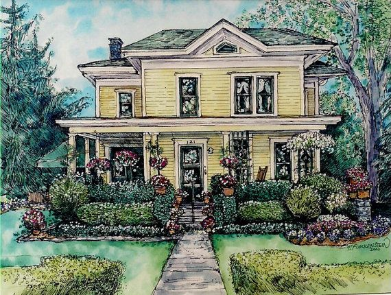 house portrait original custom painting of your home in