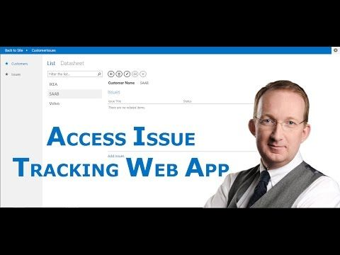 *Create an Access Issue Tracking Web App* Create a simple Access web app and use it for issue tracking in SharePoint: http://kalmstrom.com/Tips/SharePoint-Online-Exercises/Access-Issue-Tracking.htm