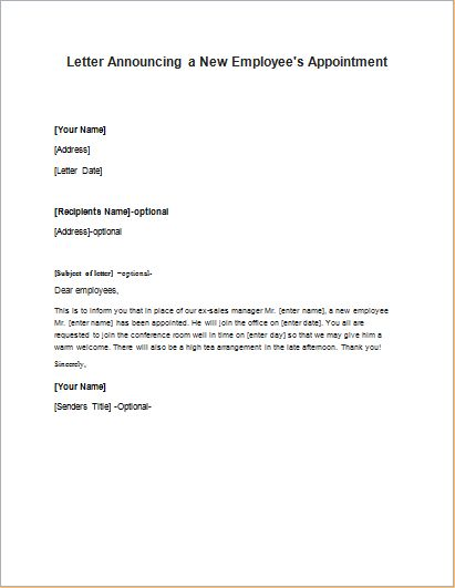 The 25+ best Employee recommendation letter ideas on Pinterest - announcement letter sample format