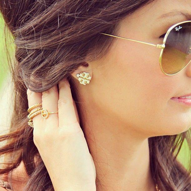 31b423f61 Extra Large Logo Stud Earrings by TORYBURCH | Wear in 2019 | Fashion  earrings, Jewelry, Earrings