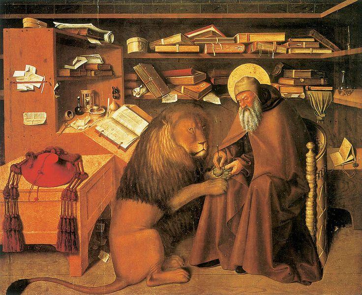 Колантонио. Здесь Святой Иероним изображен в патетический момент, когда исцеляет больного льва, вынимает ему занозу. Исцеление больного льва стало важнейшим событием в жизни ученого человека. Иероним был переводчиком всех библейских книг на латинский язык.