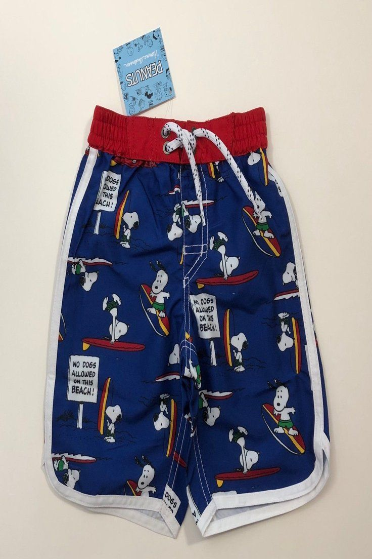 f593561750 29.95 | NWT HANNA ANDERSSON Blue Peanuts Snoopy Swim Suit Trunks Shorts  Size 90 3T