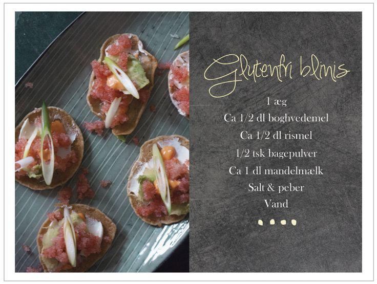 Opskrift - glutenfri blinis med stenbidderrogn, chili aioli, friskost m.v.