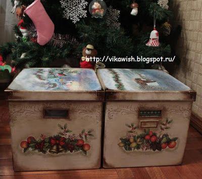 Викино вышивальное счастье: Коробки для хранения елочных игрушек